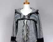 LARGE grey hooded women jacket / grey jacket / grey cardigan / all season jacket / grey hooded jacket / recycled clothing / women jacket
