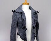 Small Jacket with removable collar long sleeves wrist warmer recycled jacket Handmade evening jacket