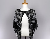 Black lace shawl white flower cover shoulder woman shawl bridal evening stole
