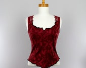 Burgundy fitted top sleeveless tank top women burgundy lace top