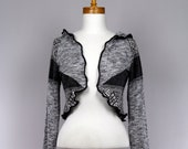 Shrug bolero hooded/pixie bolero hooded/hooded bolero grey black white/upcycled sweater/recycled clothes/shoulder warmer/cotton shrug hooded