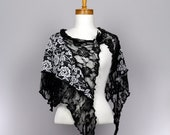 Black lace shawl white flower cover shoulder woman shawl bridal evening stole