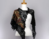 Black lace velvet shawl for women shoulder cover women scarf Mother's Day