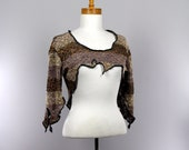 Shrug brown beige three quarter sleeve detachable collar bolero top shoulder crop top bolero