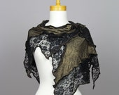 Gold shawl\black flower lace shawl\scarf shoulder warmer\lace bohemian shawl\scarf shoulder cover\black flower lace\stole gold
