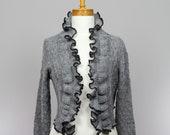 women jacket/grey women jacket/grey bolero/women jacket/long sleeves jacket/women jacket/grey bolero/warm shoulder/recycle sweater
