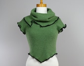 Evening pull/greenpull/women pull/soft pull/unique/recycled clothing/sweater shoulder warmer/recycled/ sweater tank top green/tank top women