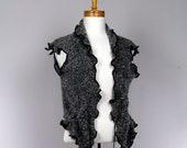 Alpaca wool jacket gray black tank top style sleeveless Scarf jacket Recycled Handmade jacket evening
