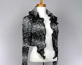 Gray black alpaca wool jacket sleeveless tank style detachable collar jacket Handmade Recycled jacket evening jacket
