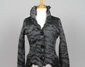 Women jacket wool/grey women jacket/grey bolero/women jacket/long sleeves jacket/women jacket/grey wool bolero/recycle sweater women/