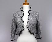 Grey jacket 2 pieces/upcycled sweater/recycled clothes/minimalist jacket/upcycled clothing/Bolero grey/grey jacket three quarter sleeves