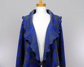 Large vest women/ wool blue grey vest//long sleeves vest/Shoulder vest/women autumn vest/woolcycled cardigan/warm shoulder vest/recycle vest
