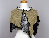 Gold cover tops/flower black lace/one of kind/evening bolero/top boho/shoulder cover/on top shoulder/top hippie/top lace/sexy women tops