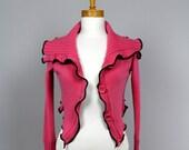 warm shoulder/Bolero pink/ bolero pink/Jacket pink/ upcycled sweater/bolero recycled clothes/ upcycled clothing/vest women pink lambswool