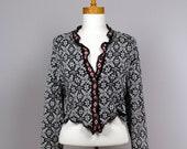 Jacket sport black white/ upcycled sweater/bolero recycled clothes/shoulder waring/ warm shoulder/bolero women/ upcycled clothing/vest women