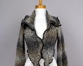 Grey designer Jacket/upcycled sweater/recycled clothes/shoulder warmer/upcycled clothes/grey cardigan/bohemian jacket/women sweater jacket