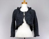Short jacket Hooded blue gray Cotton long sleeves buttons Bolero style jacket Recycled handmade jacket evening