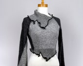 Gray black fitted sweater lambswool long sleeves collar