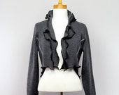 Short grey jacket MERINO WOOL unique long sleeves recycled jacket handmade unique evening jacket fair trade upcycled clothing