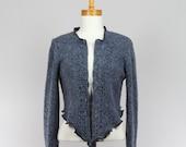 Blue Wool Knit Jacket Long sleeves Zipper Recycled jacket Handmade jacket Evening jacket