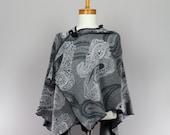 Grey cape shawl one size fits all versatile shawl unique woman scarf brooch