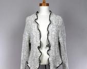 LARGE grey women jacket/grey women jacket/grey cardigan/all-season jacket/grey jacket/recycled clothing/recycled jacket/women jacket