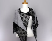 Silver grey shawl black lace shoulder cover woman shawl bride Mother's day