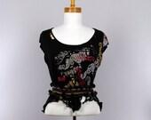 Black sweater short sleeve detachable collar boho shrug top