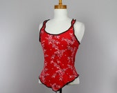 Fitted top red sleeveless tank top women red top lace back