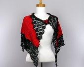 Red shawl black lace evening red shawl wedding stole