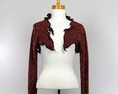 Bolero rust detachable collar long sleeve recycled jacket handmade evening jacket