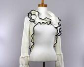 Shrug long sleeve color cream detachable collar bolero top shoulder recycle sweater crop top