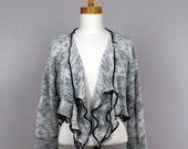 Grey designer jacket 3 pieces/upcycled sweater/recycled clothes/shoulder warmer/upcycled clothes/grey cardigan/women sweater jacket/scarf