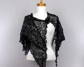 Black lace shawl silver thread wedding shawl evening stole