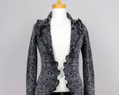 Wool Loose jacket/Women jacket/Ladies Vest/Long Sleeve/Women Vest/Grey Black Women Summest/Shoulder Vest/Recycled Vest/Shoulder warmer