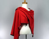 Red cotton poncho shawl one size fits all women's unique versatile shawl