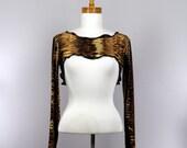 Long sleeve bolero shrug in brown velvet removable collar crop top