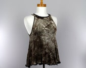 Loose top off shoulder brown grey recycled sweater tank top