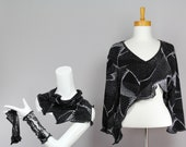 top cover/one of kind bolero/bolero women/ three quarters sleeve shrug/sexy short sweater evening/cover up top/black bolero/evening bolero/