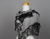 Black gray floral lace knit shawl bohemian shawl bridal stole