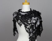 Grey black lace shawl/lace shawl wedding/scarf shoulder warmer/lace bohemian shirts shawl/scarf shoulder cover grey/flower lace shawl stole