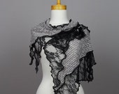 Grey black lace shawl/lace shawl wedding/scarf/shoulder warmer lace bohemian/unique shawl/scarf shoulder cover grey flower lace shawl stole