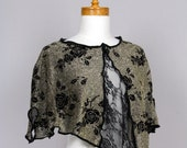 Women pull over XLARGE/short tops women/on top of shoulder/top boho/shoulder warmer/on top shoulder/lace poncho gold black/lace women tops