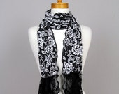 Lace scarf black white, neck warmer lace, scarf neck cover, snood black white, scarf lace, neck ruff, black lace scarf
