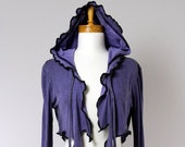 Purple hooded vest/upcycled sweater/recycled clothes/shoulder warmer/upcycled cover shoulder/purple shrug/hood jacket purple/evening shrug