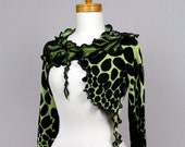 Green black shrug/One of Kind shrug/Fitted shrug/Green black Evening shrug/shrug Bolero/Women shrug/Long Sleeve Shrug/Sexy Short Shrug/