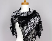 Black lace shawl/Lace shawl wedding/scarf shoulder  lace bohemian shirts shawl scarf shoulder cover white flower lace shawl stolermer