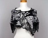 Women Tops/Black Flower Lace/Shoulder Warmer/On Top of Shoulder/shoulder cover/Short Tops Women/Hand Made Top/evening bolero/Top Boho sexy