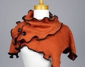 Orange neck cover warmer/recycled sweater/orange mini poncho/winter neck cover/upcycled clothing/wool neck warmer/warm neck/wrist warmer