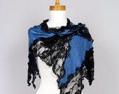 Blue shawl/flower black lace/scarf/on top shoulder warmer/ lace bohemian shirts/shawl scarf/top lace/flower lace/women tops/sexy shawl/